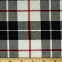 Tartan Plaid Check Polyviscose Fabric 150cm Wide, 190 gsm All Ranges 56 Red & Black On White