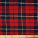 Tartan Plaid Check Polyviscose Fabric 150cm Wide, 190 gsm All Ranges 58 Red & Navy With Yellow Line