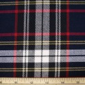 Tartan Plaid Check Polyviscose Fabric 150cm Wide, 190 gsm All Ranges 59 White Yellow & Red On Navy & Black