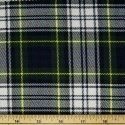 Tartan Plaid Check Polyviscose Fabric 150cm Wide, 190 gsm All Ranges 63 Gordon Green & White On Navy