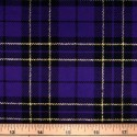 Tartan Plaid Check Polyviscose Fabric 150cm Wide, 190 gsm All Ranges 71 Purple & Gold Lurex