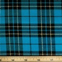 Tartan Plaid Check Polyviscose Fabric 150cm Wide, 190 gsm All Ranges 72 Turquoise & Gold Lurex