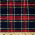 Tartan Plaid Check Polyviscose Fabric 150cm Wide, 190 gsm All Ranges 74 White Green & Red On Navy