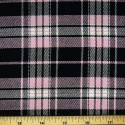 Tartan Plaid Check Polyviscose Fabric 150cm Wide, 190 gsm All Ranges 79 Pink On Black