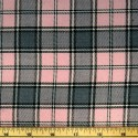 Tartan Plaid Check Polyviscose Fabric 150cm Wide, 190 gsm All Ranges 82 Grey On Pink Medium