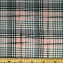 Tartan Plaid Check Polyviscose Fabric 150cm Wide, 190 gsm All Ranges 83 Grey On Pink Mini