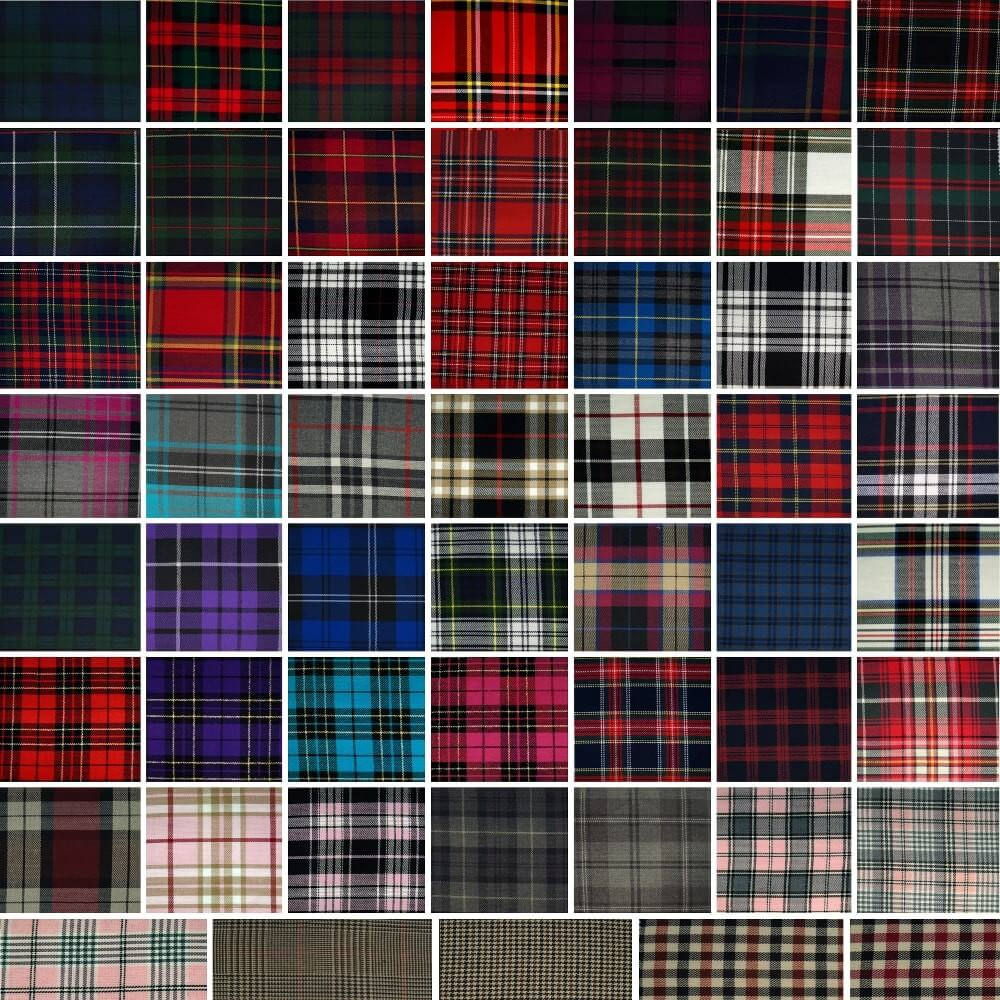 Tartan Plaid Check Polyviscose Fabric 150cm Wide, 190 gsm All Ranges 01 Black Watch Large