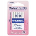 6. H100.75 Sewing Machine Needles: Universal: Fine/Medium 75/11: 5 Pieces