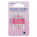 47. H108.T Sewing Machine Needles: Titanium: Embroidery: 75/11: 3 Pieces