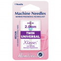 50. H110.20 Sewing Machine Needles: Twin Universal: 80/12, 2.0mm: 1 Piece