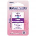 51. H110.30 Sewing Machine Needles: Twin Universal: 80/12, 3mm: 1 Piece