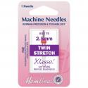 56. H112.25 Sewing Machine Needles: Twin Stretch: 75/11, 2.5mm: 1 Piece