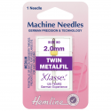 64. H119.20 Sewing Machine Needles: Metalfil Twin: 80/12, 2mm: 1 Piece