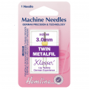 65. H119.30 Sewing Machine Needles: Metalfil Twin: 80/12, 3mm: 1 Piece