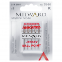 12. 2142101 - Sewing Machine Needles: Jersey: 70/10(2), 80/12(2), 90:14(1): 5 Pieces