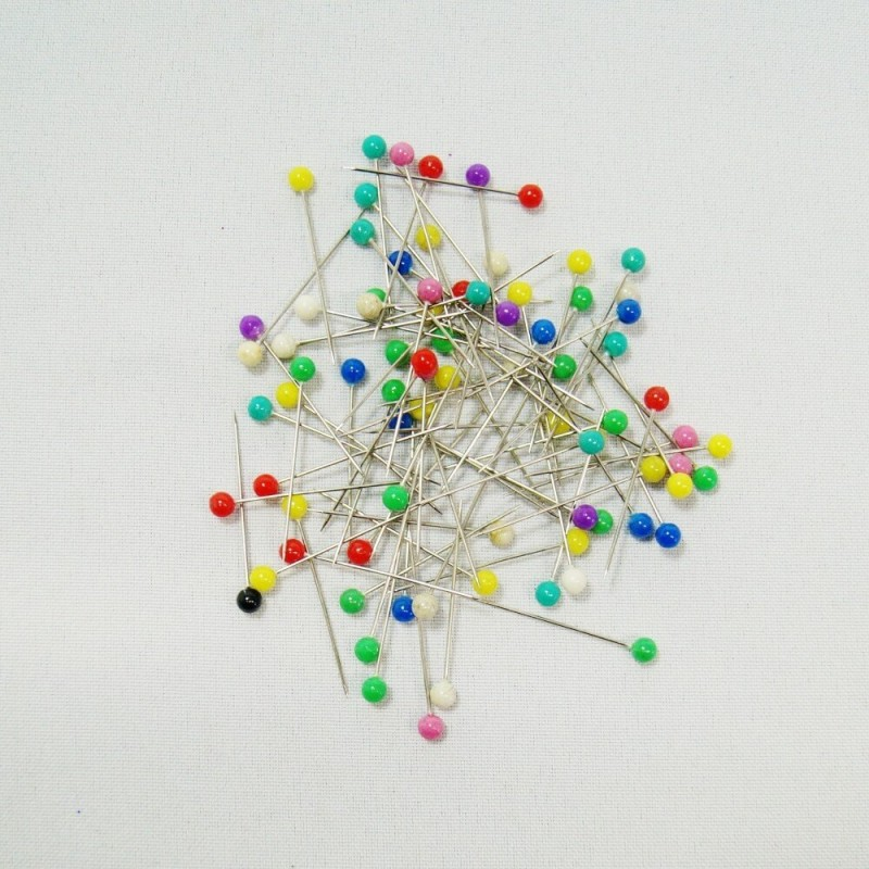 80 x Plastic Headed 32mm x 0.6mm Craft Sewing Pins Dressmaking