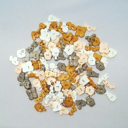 50g Assorted Gold/Silver Mix Novelty Bridal Wedding Themed Plastic Buttons Craft