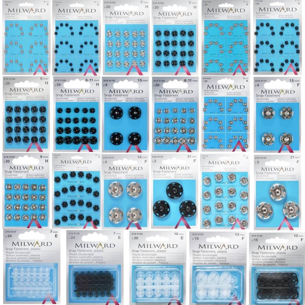 16 x 21mm Black Milward Sew On Snap Press Stud Fasteners 2195139