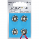4 x 15mm Silver Milward Sew On Snap Press Stud Fasteners 2195117