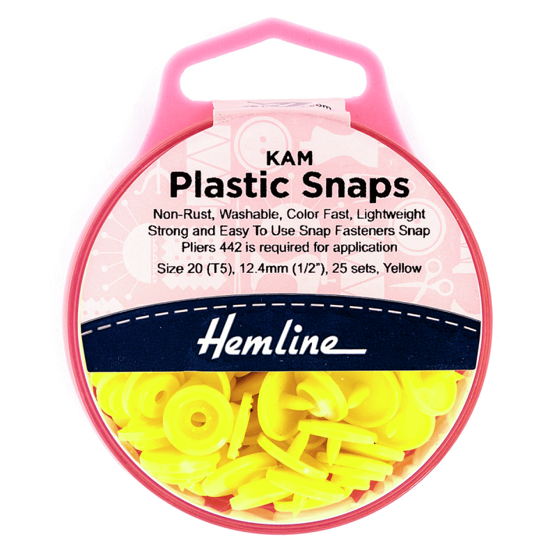 H443.YELL KAM 25 x 12.4mm Yellow Plastic Snaps Poppers Fasteners