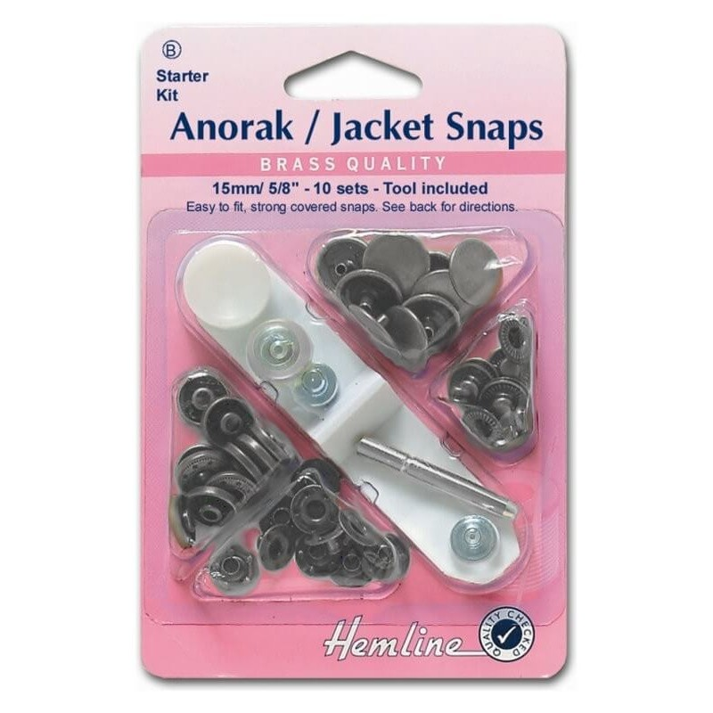 Hemline Nickel Silver Anorak Coat Jacket Press Stud Fasteners Poppers Snaps