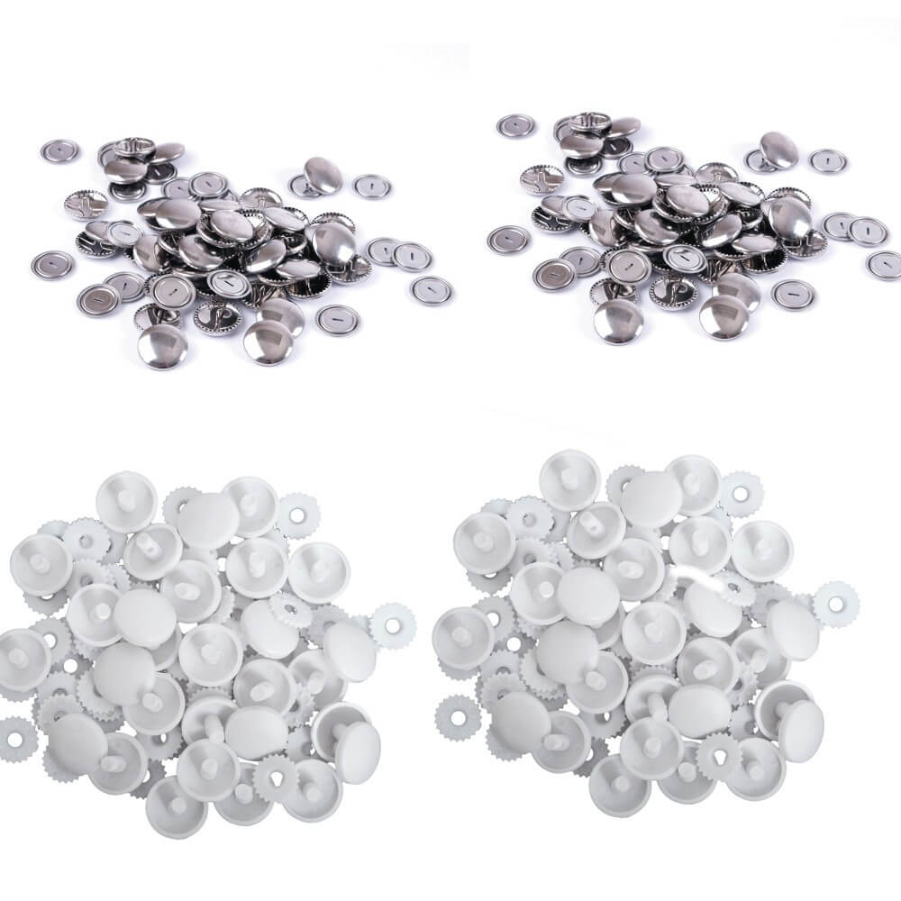 Hemline Self Cover Buttons: Plastic Top 11mm to 38mm