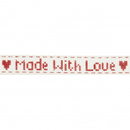 Bowtique Grosgrain Made With Love Stitch Hearts Ribbon 5mm x 5m Reel