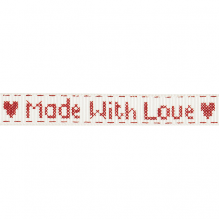 15mm Made With Love Grosgrain Ribbon 5m Reel