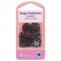 6 x 15mm Black Plastic Snaps H424.B