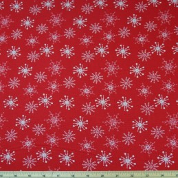 Icicle Winter Snowflake Natural On Red