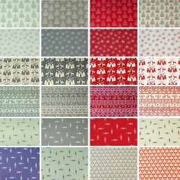 Assorted Scandinavian Christmas Cotton Linen Look Canvas Fabric 20+ Designs