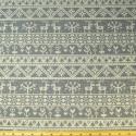 Reindeer Floral Lines Natural On Grey