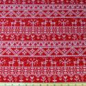 Reindeer Floral Lines Natural On Red