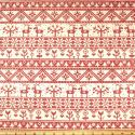 Reindeer Floral Lines Red On Natural