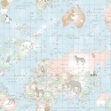 World Map Animals Blue