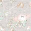 World Map Animals Taupe