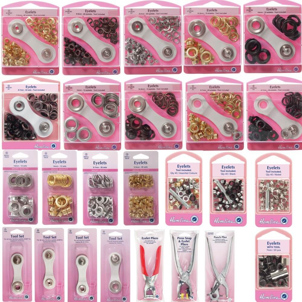 1. H435 Eyelets with Tool: Asstd Colours - 5.5mm - 40pcs