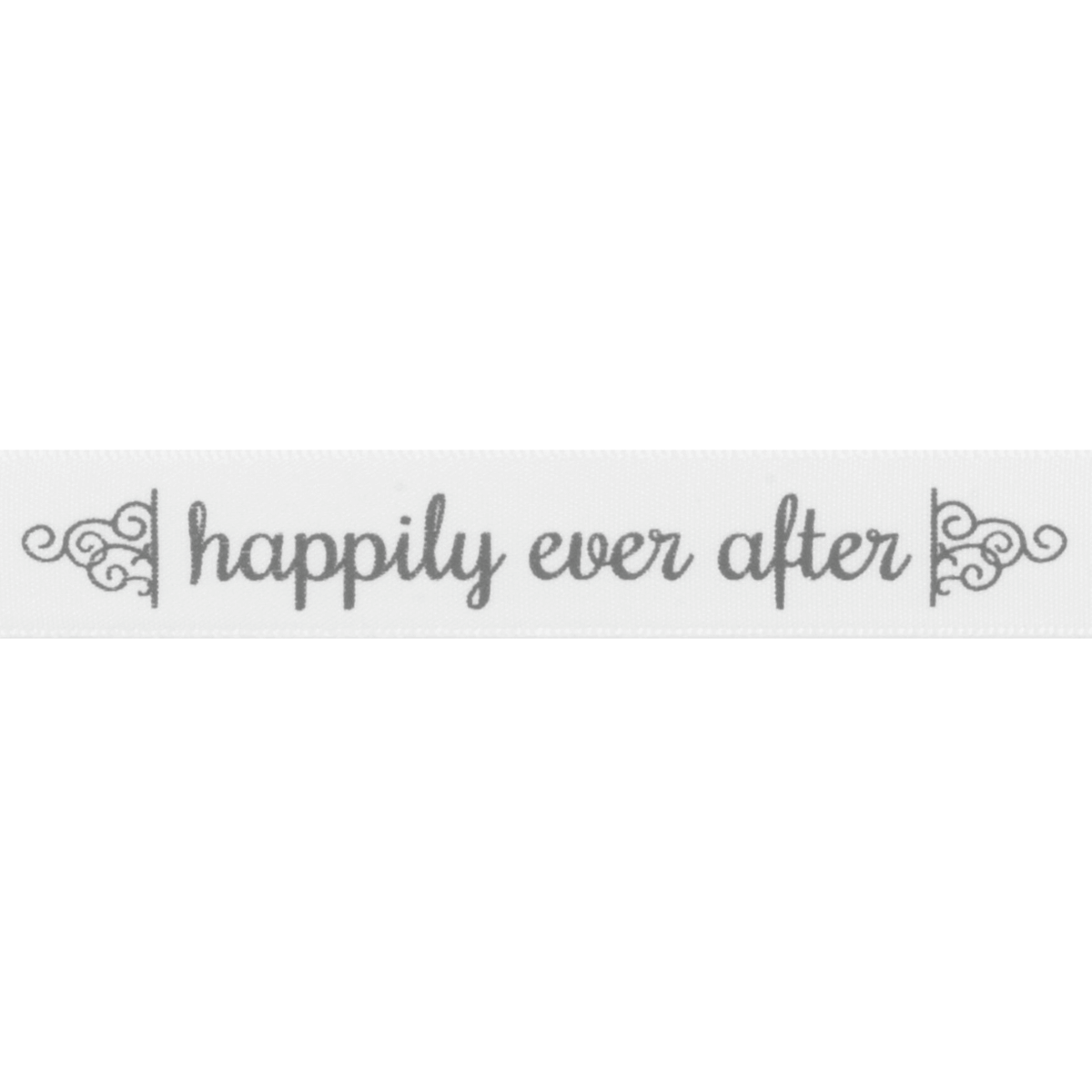 5 metres 15mm Happily Ever After White Polyester Satin Ribbon Trim