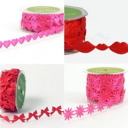 1 Metre Satin Valentine's Theme Hearts and Kisses Cut Out May Arts Ribbon Trim