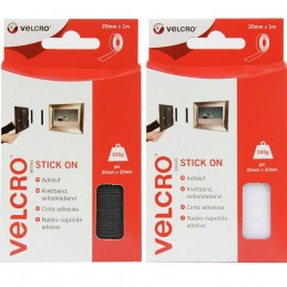 VELCRO® Brand 1m x 20mm Hook & Loop Tape Stick-On White Or Black