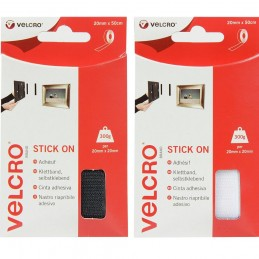 VELCRO® Brand 50cm x 20mm Stick-On Hook & Loop Tape White Or Black