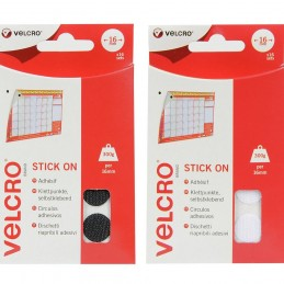 VELCRO® Brand 16mm x 16 Sets Coin Shaped Stick-On Hook & Loop Tape