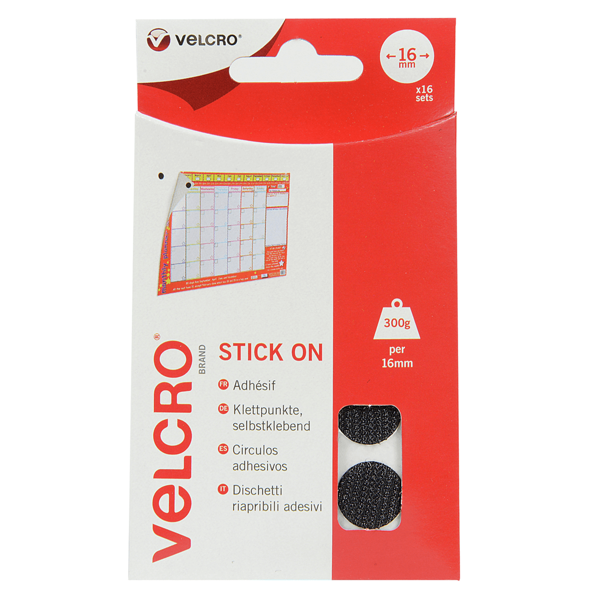 16mm x 16 Sets  Coin Shaped Stick-On Velcro Hook & Loop Tape Black