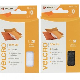 VELCRO® Brand 1m x 20mm Sew On Hook & Loop Tape White Or Black