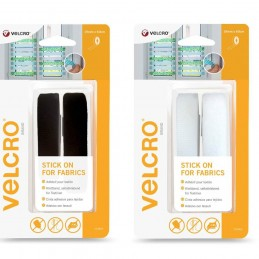 VELCRO® Brand Stick On Self Adhesive Strip For Fabric 19mm x 60cm Black Or White
