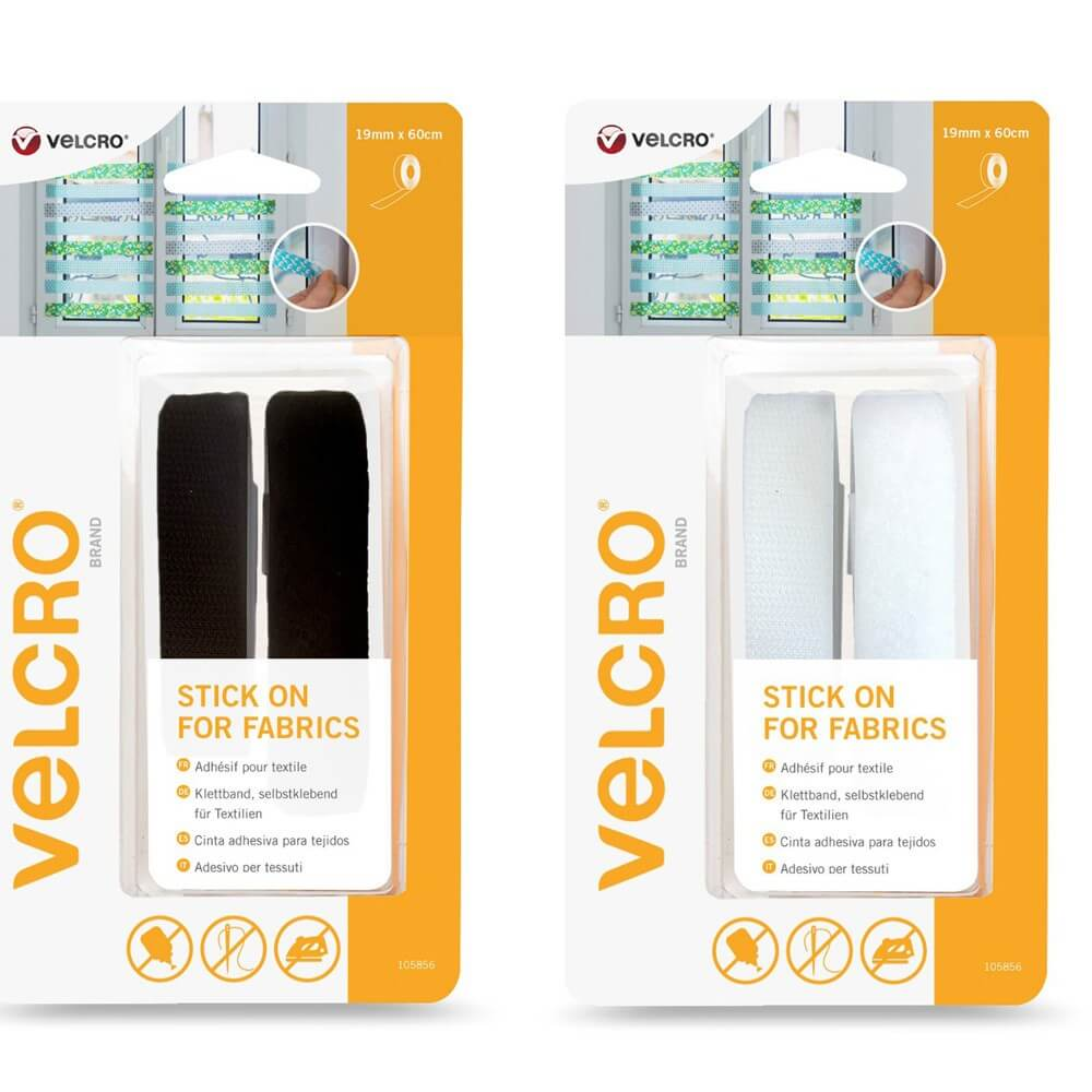Velcro Stick On Self Adhesive Strip For Fabric 19mm x 60cm Black