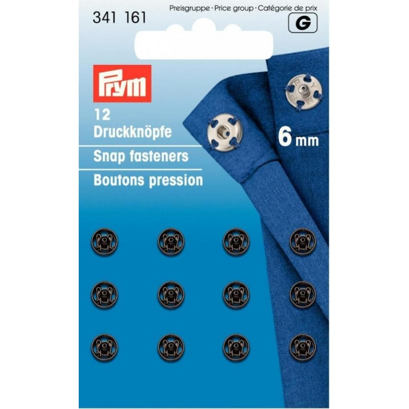 24. 341161 - Snap Fasteners 6mm Black 12 Piece Card