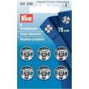 36. 341249 - Snap Fasteners 15mm Nickel 6 Piece Card