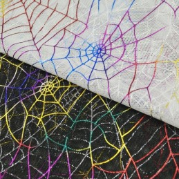Multi-Coloured Spiders Web Halloween Mesh Net Polyester Fabric