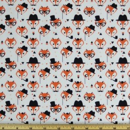 Ivory 100% Cotton Poplin Fabric Rose & Hubble Fancy Little Fox Faces Foxes